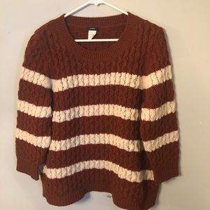 J. Crew Cabled Stripe Merino Wool Sweater EUC